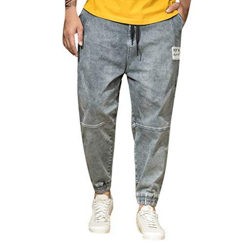 TPulling Herren Jeans Hose Denim Stretch Regular Fit Jeanshose  Jeans Hose Denim Blau Straight-Cut Gerades -