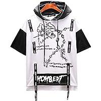 DTX Marca de Manga Corta con Estilo de Los Hombres de Diseño Simple Marca con Capucha con Correas Camiseta Camiseta Hip-Hop Vestido de Verano de Baile Callejero, Blanco, SG