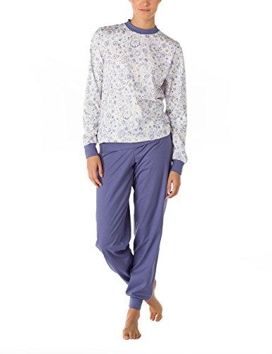 Calida Damen Zweiteiliger Schlafanzug Pyjama Bündchen Cuba Blau (blue-style 386)