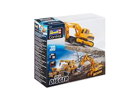 RC Auto kaufen Baufahrzeug Bild 2: Revell Control 23496 RC Baufahrzeug Schaufelbagger mit Kettenantrieb, 27MHz, Akku ferngesteuertes Auto, gelb-orange, 12 cm*