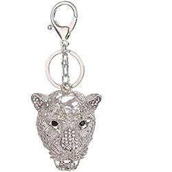 Leopardo del Rhinestone animal del anillo dominante de la mujer bolso de regalo llavero colgante llavero de recuerdo