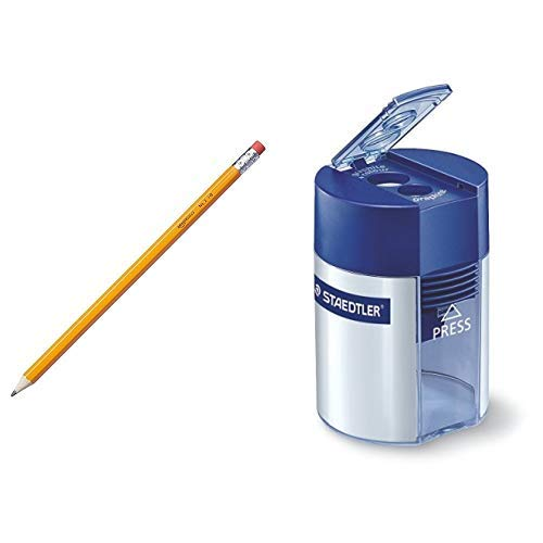AmazonBasics - Holzgefasste Bleistifte, HB, vorgespitzt, 30er-Pack & Staedtler 512 001 Doppelspitzer (für Bleistifte und Buntstifte, Anspitzer mit Behälter)