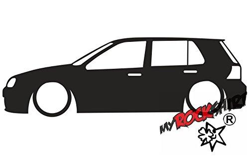 2X Aufkleber Low Mk4 Golf 1.8t R32GTi (5 Door) Outline Sticker Low Lowered Tiefer Tiefergelegt `+ Bonus Testaufkleber Estrellina-Glückstern ®, gedruckte Montageanleitung von myrocks