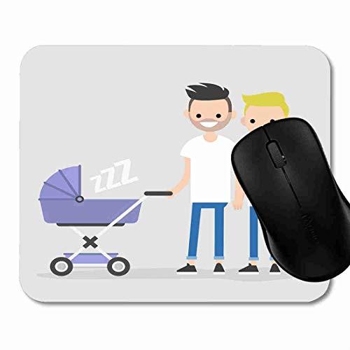 Mauspad Karikatur-homosexuelle Familien-gehender Kinderwagen Rutschfeste Gummi Basis Mouse pad, Gaming und Office mauspad für Laptop, Computer PC 1H2083 (Kinderwagen Basis)