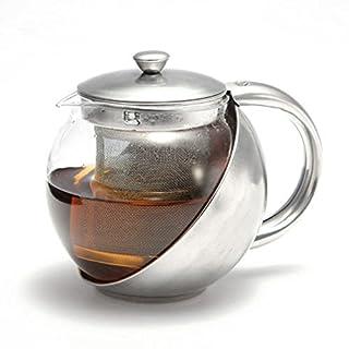 Ardisle 1100ml Edelstahl Glas Teekanne lose Infuser Kaffee-Tee-Blatt Kräuter Klar