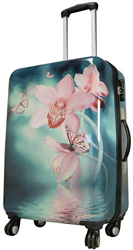 se Citykoffer - Blumen-Motiv Orchidee - 67 Zentimeter 62 Liter 4 Räder Zahlenschloss bunt ()