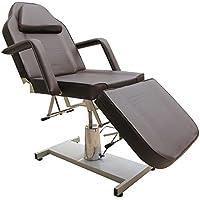 eyepower Lettino Stabile per Massaggi Estetista Fisioterapia 185cm | 3 Zone con Foro per Viso | Panca Spa Professionale struttura in metallo imbottito | reclinabile a regolazione continua | ruota a 360° | braccioli rimovibili | NUOVO | Marrone