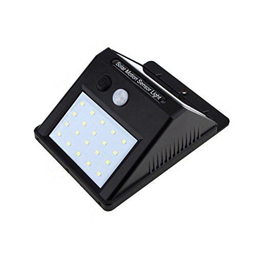 1PC 20 LED Lámparas Solares, Luces de Exterior con Sensor de Seguridad por Movimiento Inalámbricas y con Batería Solar Exterior para Jardín Patio Terraza Inicio Camino Escalera Exterior