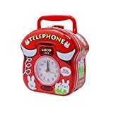 #7: Tootpado Metal Piggy Bank with Clock for Kids Telephone - Red - (1BOX143) - Money Kiddy Coin Bank