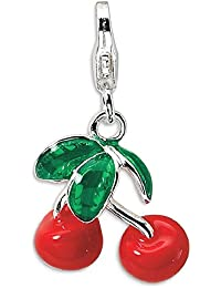ICE CARATS 925 Sterling Silver 3 D Enameled Red Cherries Lobster Clasp Pendant Charm Necklace Food Drink Fine Jewelry Gift Set For Women Heart