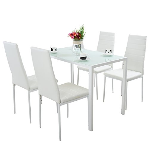 a03a1570bf 1 table Home & Kitchen IsEasy Glass Dining Table Set And With 4-6 Faux