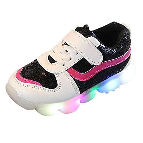 Bébé Fille Enfant Baskets Paillette Chaussures de Sport LED Lumineux Mode, QinMM Chaussures de Ville à Lacets Mocassins Antidérapant Respirant Taille 21-30