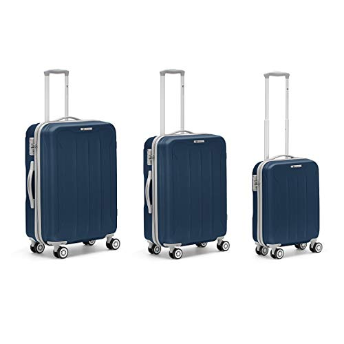 R roncato, flight - set 3 trolley (l+m+s) in abs 100%, blu navy