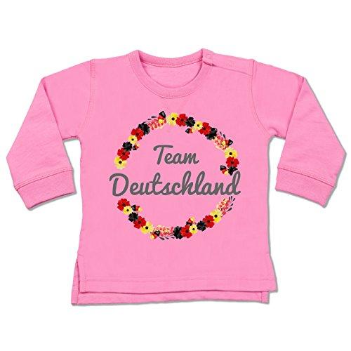 Shirtracer Fußball-Europameisterschaft 2020 - Baby - WM Team Deutschland Blumen - 12-18 Monate - Pink - BZ31 - Baby Pullover - Pink Ball Blüte