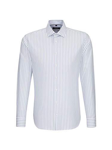 Seidensticker x-slim langarm mit kent-kragen bügelleicht gestreift luxury essentials, camicia business uomo, blu (blau 12), 40 cm