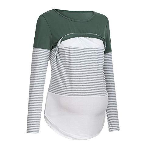 Damen Stillshirt Umstandsmode Schwanger Lange Ärmel Shirt Stillen Locker Umstandstop Streifen...