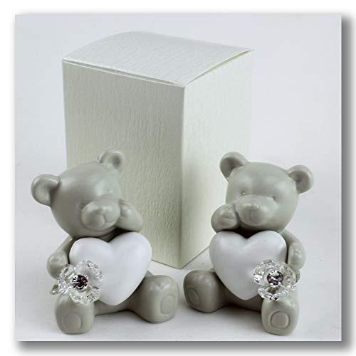 Dlm27556 orso orsetto orsacchiotto cuore in ceramica con fiore in cristallo bomboniera