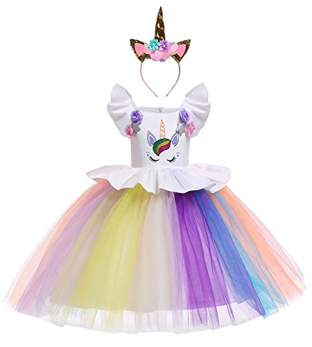 Le SSara Unicorn Kostüm Kleider Pageant Party Kleider Blumenabende Kleider Tutu Dress (130, E78-white)
