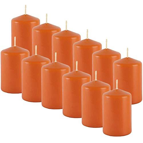 MGE - Velas Perfumadas - Velones Aromáticos - Velas para Ambientar el Hogar - 12 Unidades - Naranja - Aroma Tropical - Fabricado en España