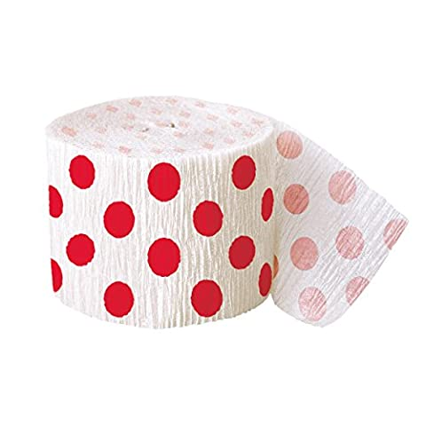30ft Crepe Paper Red Polka Dot Party Streamers