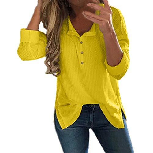 OSYARD Damen Solid Langarm Shirts Sweatshirts Bluse mit Taste, Frauen Herbst Langarm Pullover Gestrickte Pullover Tops Bluse T-Shirt (S, Gelb)