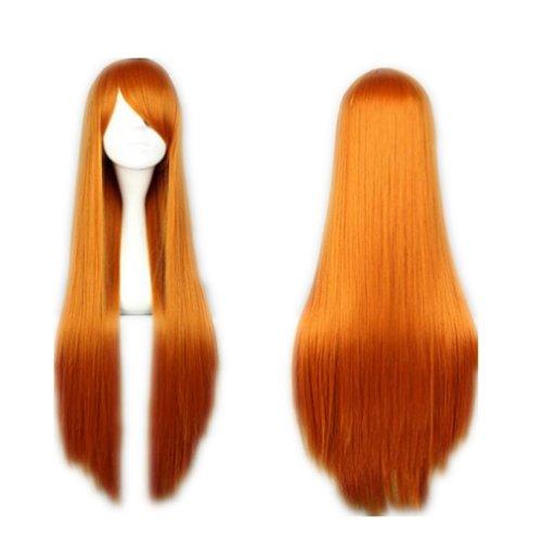 COSPLAZA Cosplay Wigs Kostueme Peruecke lang gerade Anime Show Fasching Karneval Haar 80cm Orange