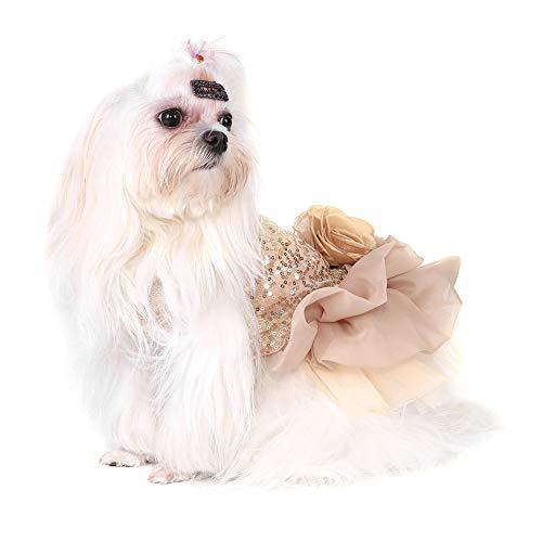 Hundekleid Haustier Kleine Hund Kleidung Pailletten Seidige Tutu Welpen Kostüm Hund Prinzessin Elegant Rock Hochzeit Kostüm (Gold XL)