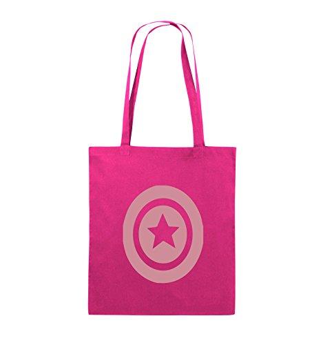 Comedy Bags - CAPTAIN AMERICA - Jutebeutel - lange Henkel - 38x42cm - Farbe: Schwarz / Silber Pink / Rosa
