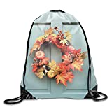 uykjuykj Water Repellent Gymbag Drawstring Backpack Maple Leaf Wreath Sackpack for Shopping Sport Yoga Maple Leaf wreath3 Lightweight Unique 17x14 IN