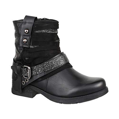 Elara Damen Biker Boots | Metallic Prints Schnallen | Nieten Stiefeletten Lederoptik | Gefüttert 8263 Black-37