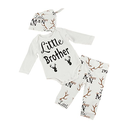 Puseky Newborn Baby Little Brother Deer Long Sleeve Romper+Pants+Hat Outfits Set (6-12 Months)