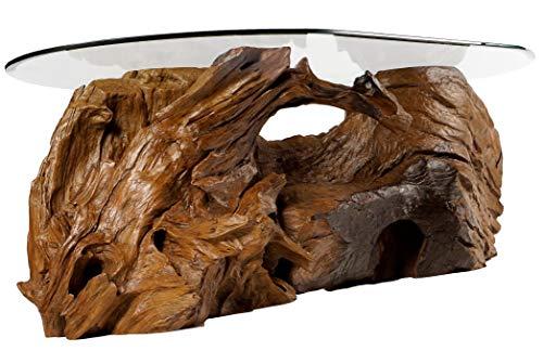 Mesa de centro rústica de tronco de árbol