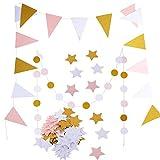 2 Stück 2.5 Meter Papier Wimpel Girlande + 2 Stück 2.5 Meter Kreis Girlande + 100Pcs Stern Konfetti Papier Konfetti Banner Papier Wimpelkette Wimpelgirlande Glitter Glitzer Deko für Hochzeit Geburtstag Party Kinderzimmer Räumer Fenster (Gold Schwarz Weiß)