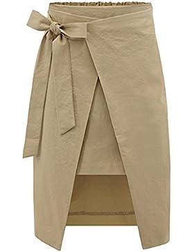 Mujer Midi Falda de Cintura Alta Side Split Faldas de Fiesta