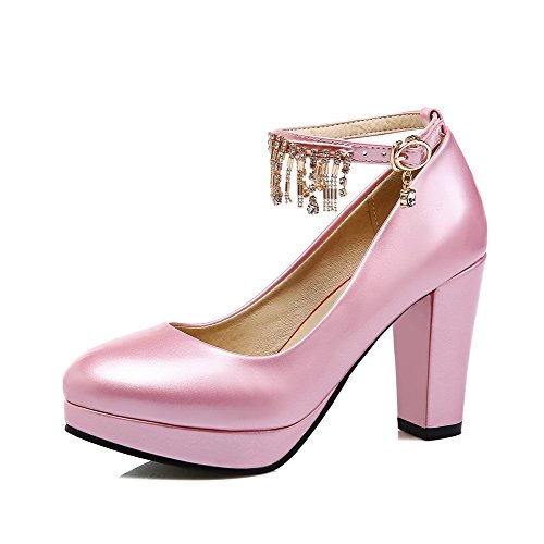 AgooLar Femme à Talon Haut Couleur Unie Boucle Verni Rond Chaussures Légeres Rose