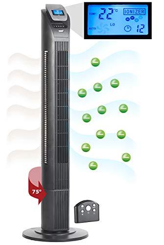 Sichler Haushaltsgeräte Säulenventilator: 3-stufiger Design-Turmventilator mit Ionisator, 75°-Oszillation, 50 W (Standventilatoren)