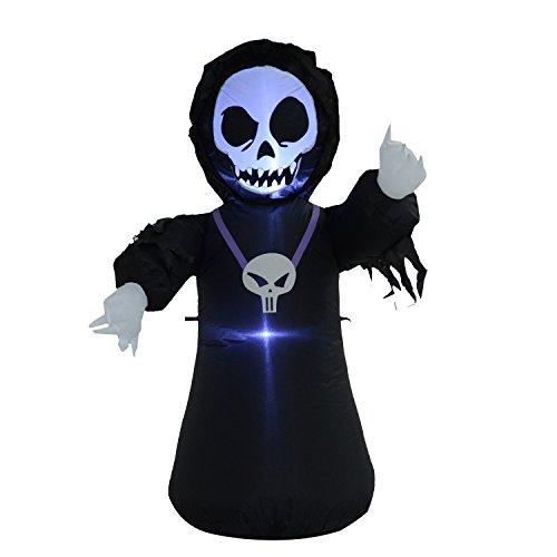 Homcom® Halloween Aufblasbares Spukgespenst Luftfigur Aufleuchtend Deko 120/ 240 cm (Aufblasbares (Gespenst Aufblasbares)