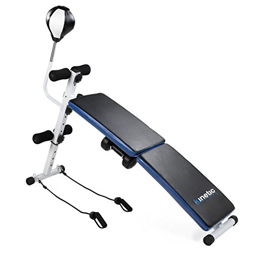 Kinetic Sports SUB04 Sit Up Bank Hantelbank Bauchtrainer Trainingsbank faltbar mit Hantelset Expander Boxbirne