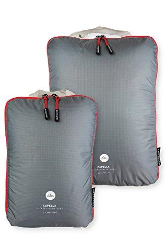 NORDKAMM Packtaschen M mit Kompression, Koffer-Organizer, Packwürfel, Kleidertasche, einzeln od. im Set, Gepäck-Organizer auf Reisen, Rucksack, Backpack, als Kompressionsbeutel, leicht, mit Schlauf (Gepäck-set Leichtes)