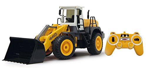 RC Auto kaufen Baufahrzeug Bild: Jamara 410005 - Radlader 440 1:20 2,4G - Schaufel heben / senken / abkippen, realistischer Motorsound (abschaltbar), programmierbare Funktionen, Blinker, Autoabschaltfunktion, 2 Radantrieb*