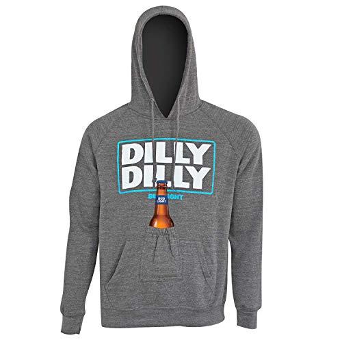 Bud Light Männer (Bud Light Dilly Dilly Bier Pouch Hoodie Mittelgrau)