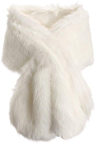 ArtiDeco Damen Kunst Pelz Schal Flauschig Faux Pelz Umschlagtuch Kragen für Wintermantel 1920er Jahre Flapper Accessoires Outfit Warm Zubehör 120 cm lang (Weiß Breit) -