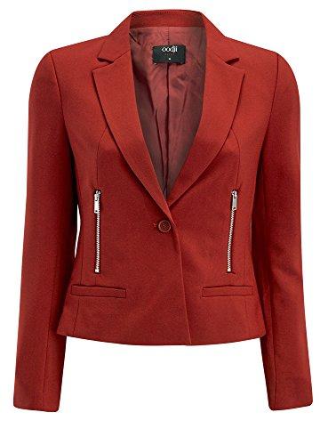 oodji Ultra Femme Veste Coupe Cintrée avec Poches Zippées Rouge (3100N)