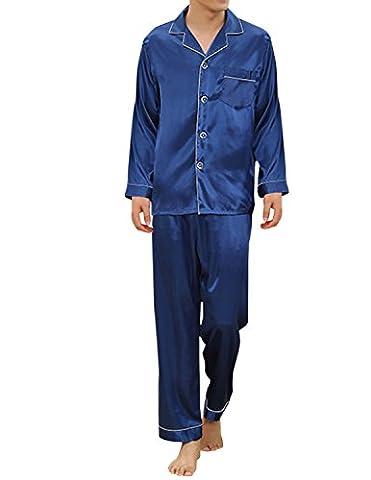 Sue&Joe Men's Silk Pajama Set Full Length 2 Piece Plain Satin Sleepwear Loungewear, Blue, Tag size 3XL=UK size Large