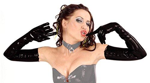 Anita Berg–Los Estrechos largos guantes Zip de látex Negro negro