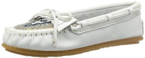 Minnetonka Beaded Kilty Moc 634 Damen Mokassins, Weiß (White), EU 37 (US 6) (Slipper Schuhe Beaded Flats)