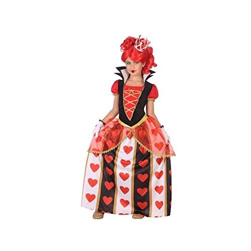 (ATOSA 56873 Königin der Herzen Kostüm für Mädchen Costume Queen of Hearts 10-12, Weiss/Schwarz/Rot, 10 a 12 años)