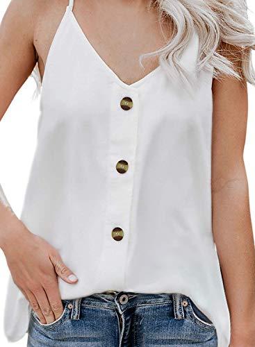 Durio Top Damen Sexy Tank Top Damen Sommertop Spaghetti Top Ärmellose Bluse V-Ausschnitt Shirt Weiß EU 40 (Herstellergröße M)