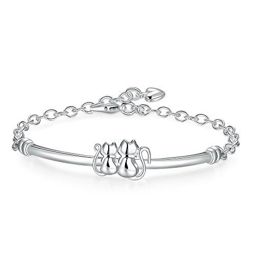 Faysting EU - Joyas para mujer, pulsera de plata con figura de dos gatos, buen regalo para Navidad / San Valentín