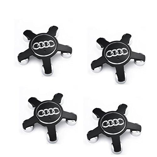 Meow Star Radkappen-Set, für 4 Felgen, Aluminium, Schwarz, 5 Strahlen, mit Logo, 135mm